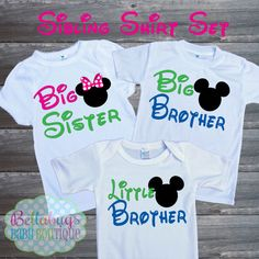 Disney Sibling Set Big Sister Little Sister Big Brother Outfit - Bodysuit or Tshirt - Twin Babies - New Baby
