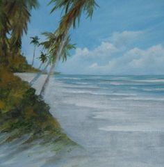 Shady Spot Seascape Original Oil Painting