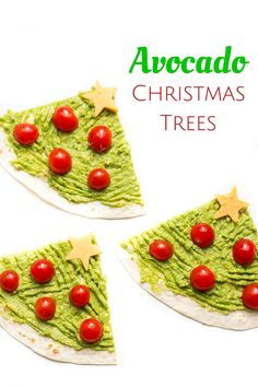 Avocado Christmas Trees - a healthy Christmas snack for kids. A great 5 min lunch