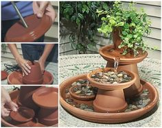 DIY TerraCotta Clay Pot Fountain Projects: Tabletop water fountain, garden flower pot fountain features