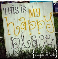 This is my Happy Place sign pallet sign wood sign wall art home decor distressed wood pallet sign painted sign pallet signs - Pallet signs diy, Wood pallet signs, Pallet signs, Happy place sign, Wood -