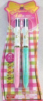 Daiso Japan,4-color Ball Pen,girly Romantic,kawaii.2 Pack.