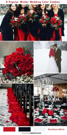 8 Romantic Winter Wedding Color Combos for 2018 8 Winter Wedding Color Combos for 2018 - Red, Black and White Planning for a white wedding in winter? The 8 romantic winter wedding color combos for your snowy wedding. You will be inspired. Black Red Wedding, Red And White Weddings, Black And White Wedding Theme, Red White Wedding Dress, Maroon Wedding, Burgundy Wedding, Wedding Dresses, Bridesmaid Dresses, Wedding Color Combinations