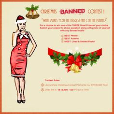Day 2 of our 'What makes you the biggest BANNED fan on the planet?' Christmas contest to win one of the THREE Great Prizes of your CHOICE!!   You need use link below to have access to our BANNED Christmas Contest on Facebook!!  https://www.facebook.com/banned.alternativewear/photos/a.452344024809991.113223.301099116601150/884115748299481/?type=1
