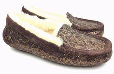 UGG Ansley Glitter Leopard-Print Bronze Moccasins Slippers sz: US 7 #UGGAustralia #Moccasins