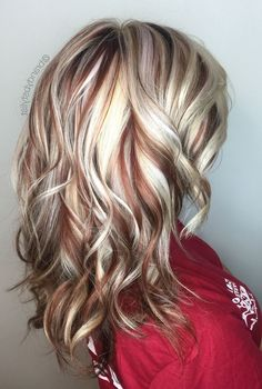 34 Blonde Hair Color Trends for 2019 – Latest hair color inspiration Blonde Brown Hair Color, Blonde With Red Highlights, Blonde Hair Shades, Red To Blonde, Red Hair Color, Cool Hair Color, Brown Hair Colors, Blonde With Brown Lowlights, Red Color