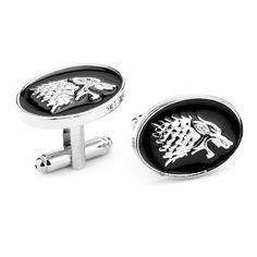 최고 등급 게임 왕좌의 스탁 늑대 머리 커프스 링크 블랙 에나멜 셔츠 브랜드 커프스 버튼 남성 최고의 선물