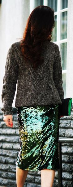 Wardrobe Refreshing: Chunky Sweater And Sequin Skirt by Hallie Daily