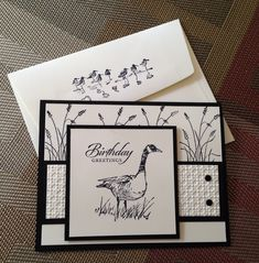 handmade card and decorated envelope ... Wetlands  in black and white ... luv it!