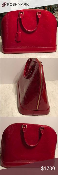 Red Leather Louis Vuitton It's one of my favorites vintage Vuitton! It's in perfect condition. Almost new. Louis Vuitton Bags Totes