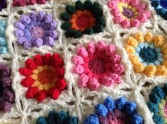 Close up of what I call my Rainbow Flower Burst Blanket ❤️