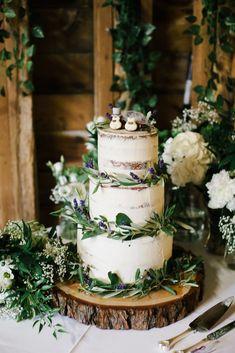 Semi Naked Wedding Cake With Caterpillar Cake Toppers #weddingcakedesigns