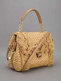 Dolce & Gabbana Sicily Raffia Handbag in Beige (camel) - Lyst Crotchet Bags, Knitted Bags, Crochet Handbags, Crochet Purses, Cute Purses, Purses And Bags, Designer Shoulder Bags, Macrame Bag, Dolce & Gabbana