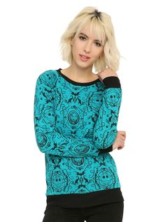 <p><i>The Nightmare Before Christmas</i> gets a baroque style makeover on this teal pullover top. The print features Jack,Sally and bats. Black trim.</p>  <ul> <li>60% cotton; 40% polyester</li> <li>Wash cold; dry low</li> <li>Imported</li> <li>Listed in junior sizes</li> </ul>