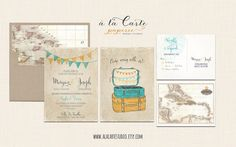 Vintage Suitcases Destination Wedding Invitation by alacartestudio