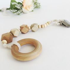 Organic Wood Pacifier Clip and Teether wood by LuMayBabyCo