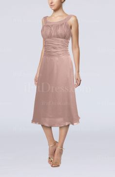 Dusty Rose Casual A-line Scoop Zipper Tea Length Bridesmaid Dresses - iFitDress.com