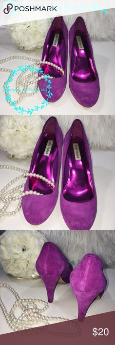 "🎀 STEVE MADDEN MAGENTA STILETTOS HIGH HEELS Perfect pair of suede heels! Size 10. Pre-loved! 💕   🎀""Add to bundle"" to add more items from my closet or ""Buy"" to checkout now.  🎀Get to know me! 💗Showing you how to style your looks at www.Queenbeefashionblog.com SUBSCRIBE.   🎀 Let's be friends! Follow me on Instagram @queenbeefashionblog Steve Madden Shoes Heels"