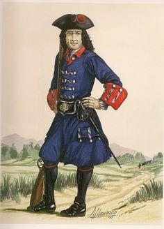 Spain; Compañía de Fusileros Reales, Peru, 1700