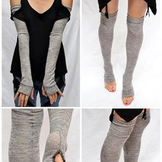 TRIXY XCHANGE Long Gray Patch Gloves White Fingerless Gloves Cotton Arm Warmers Upcycled Recycled Sweater Armwarmers Legwarmers Leg Warmers