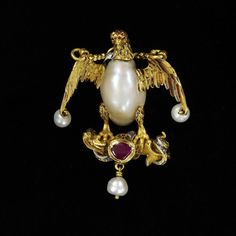 Enamelled gold pendant in the form of an eagle and a snake set with a baroque pearl and a ruby and hung with pearls. Paris warranty mark for 1838 onwards, Europe, late 16th century. Enamelled gold set with a baroque pearl and a ruby and hung with pearls.