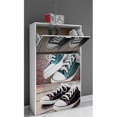 Dale un toque moderno a ese espacio que necesitas y además un sitio donde puedas guardar todos tus zapatos. Este Mueble Zapatero cumple a la perfección darle color y funcionalidad como estabas buscando. Está fabricado en material de aglomerado melaminizado con fotografía de las famosas zapatillas sneakers con tiradores en aluminio. Incluye herraje para fijar a la pared.