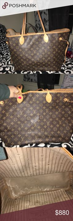 Louis Vuitton monogram neverfull GM tote ❤️💕 Condition are in the picture it's been used for 1 year . Out side is good condition this is the large bag , inside is durty and has some peeling inside the little pocket . You can clean it❤️💕 . I don't have dust bag or papers sorry ! But HQ check for you before send ! Don't make low ball please🙏   ❌❌ no trades ❌❌ thank you 🙏 Louis Vuitton Bags Totes