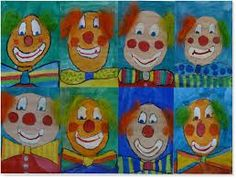 art with children elementary school clowns - - Clown Crafts, Carnival Crafts, Halloween Crafts, Adult Crafts, Crafts For Kids, Arts And Crafts, Circus Art, Circus Theme, Art Education Lessons