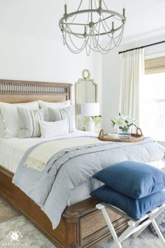 One Room Challenge Blue and White Guest Bedroom Reveal Before and After Makeover- calming guest bedroom decor - Bedroom Design Ideas Guest Bedroom Decor, Guest Bedrooms, Bedroom Ideas, Blue Bedrooms, Guest Room Bedding Ideas, Bedroom Decorating Ideas, Classic Bedroom Decor, White Wall Bedroom, Airy Bedroom