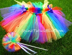 Items similar to Rainbow Bright Tutu and Magic Wand Set on Etsy Rainbow Parties, Rainbow Birthday Party, Unicorn Birthday, Unicorn Party, 1st Birthday Parties, Tutu Bailarina, Fashion Bubbles, Rainbow Tutu, Rainbow Brite