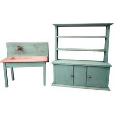 Vintage Dollhouse Furniture - Tynietoy Kitchen Sink and Cupboard ...