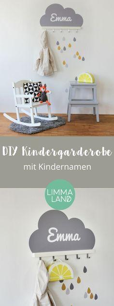 So einfach ist eine Kindergarderobe gemacht. Wandtattoo gestalten mit Kindernamen oder Wunschtext + Hakenleiste von IKEA = Kindergarderobe praktisch als DIY ;-) Das Wandtattoo gibt es in 5 Farben in unserem Shop www.limmaland.com