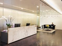 The spacious reception area gives off the vibe of a luxury boutique hotel