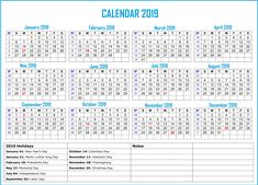 yearly calendar in one page 2019 bank holiday calendar