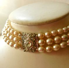 Authentic Art Deco three wires simulated pearl by RAKcreations