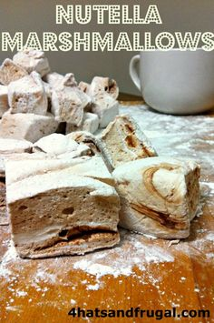 Homemade nutella marshmallows; very easy to make and absolutely delicious in hot cocoa!