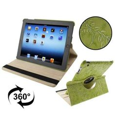 For+iPad+4/3/2+Green+Embossing+Flower+Rotatable+Sleep+/+Wake-up+Function+Leather+Case+with+Holder