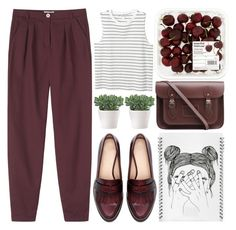 """""""burgundy blues"""" by evangeline-lily ❤ liked on Polyvore featuring Toast, Zara, Monki, L'ATELIER d'exercices, The Cambridge Satchel Company, zara and toast"""