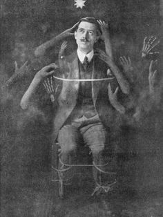 This chap seems to be rather enjoying his spiritualist experience. 19th century spirit photo