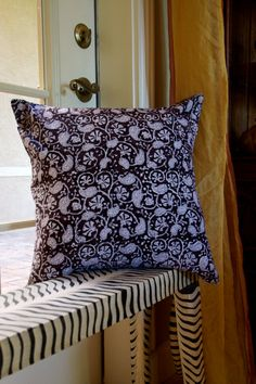 Petit Paisley Hand Block Printed Throw Pillow in Charcoal 20x20. Buy It Now On Etsy!
