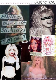 """Hole Collage with Courtney Love focus. Upper Left Hand- lyrics from """"Jennifer's Body"""" Live Through This Lower Right Hand- lyrics from """"Violet"""" Live Through This Image From Oh My Dior; knowledge of Hole lyrics is from my own obsession. ;-)"""