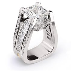 Trendy Diamond Rings :    Interlace, 7.07ct Radiant Cut Diamond accented by Baguette and Round Brilliant Cut Diamonds set in Platinum.  - #Rings https://youfashion.net/wedding/rings/diamond-rings-interlace-7-07ct-radiant-cut-diamond-accented-by-baguette-and-round-brilliant-c/ #trendyrings