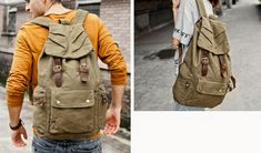 army rucksack Size: 30*15*48 cm Canvas Messenger Bag, Canvas Backpack, Army Rucksack, Military Jacket, Backpacks, Jackets, Men, Bags, Outfits