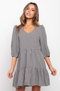Casual Frocks, Casual Dresses, Gingham Dress, Spring Summer Fashion, New Dress, Plus Size Fashion, Cold Shoulder Dress, One Piece, Dress Black