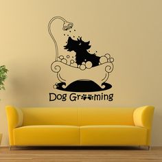 Dog Grooming Wall Decal Pet Grooming Salon Decals Vinyl Stickers Puppy Pet Shop Animal Decor Nursery Bedroom Wall Art Interior Design Z855