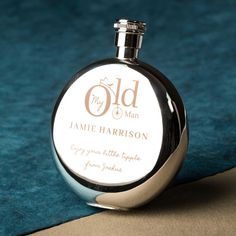 Engraved Round Hip Flask - My Old Man   GettingPersonal.co.uk