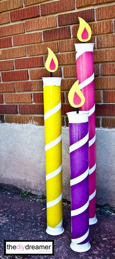 DIY Giant Birthday Candles ~ made from Thick cardboard tubes… fun idea to decorate for a birthday party! This would also be Great for Christmas Decorations with a HaPpy bIrThDaY Jesus sign♥ Happy Birthday Jesus, Birthday Fun, Birthday Parties, Happy Birthday Signs, Birthday Ideas, Giant Candles, Decoration Birthday, Diy Decoration, Christmas Crafts