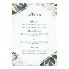 Garden Blush Menu Card - floral style flower flowers stylish diy personalize