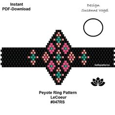 DETAILS: YOU PURCHASE A DOWNLOADABLE PDF-PATTERN TO CREATE THIS BEAUTIFUL TREASURE ON YOUR OWN. LeCoeur #047RS For having an easier start you will get two start-pdf files (an image, a different bead legend, bead & word-chart) you can use instead of the usual pdf files. Peyote ring