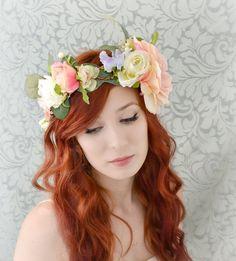 Boho flower crown, wedding head piece, bridal hair accessory, woodland wedding - dreaming of spring
